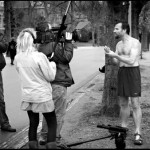 "Wim ""The Iceman"" Vos being interviewed and filmed for Channel4. Vondelpark, Amsterdam."